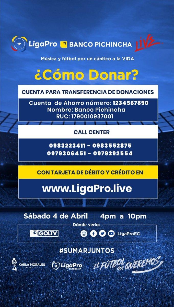 Hoy es tiempo de #SumarJuntos. Desde las 16:00 se realizará el concierto solidario LigaPro Banco Pichincha Live. Es la oportunidad para recolectar donaciones para enfrentar la crisis de Covid-19 en Ecuador. Conéctese en: https://t.co/sSm2YgI1qf https://t.co/YOVwJanzo9