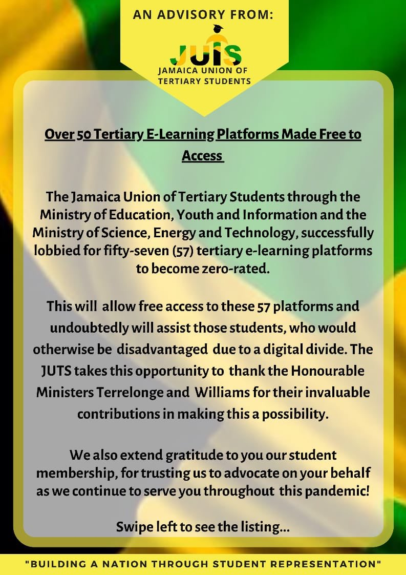 We thank State Minister in the @MOEYIJamaica Minister Alando Terrelonge (@terrelonge2016 ), Minister of Science, Energy and Technology, Minister Fayval Williams (@fayvalwilliams ) and Telecommunication providers @DIGICELJamaica for making this possible for students #TheNewJUTS https://t.co/D2c2KFWXrO