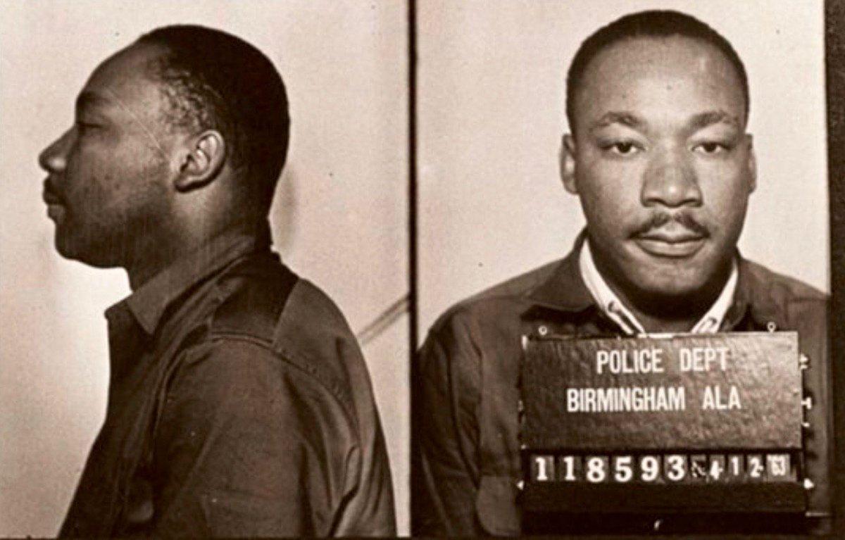 Martin Luther King, Jr., after arrest in Birmingham, Ala., civil rights protest, April 1963: