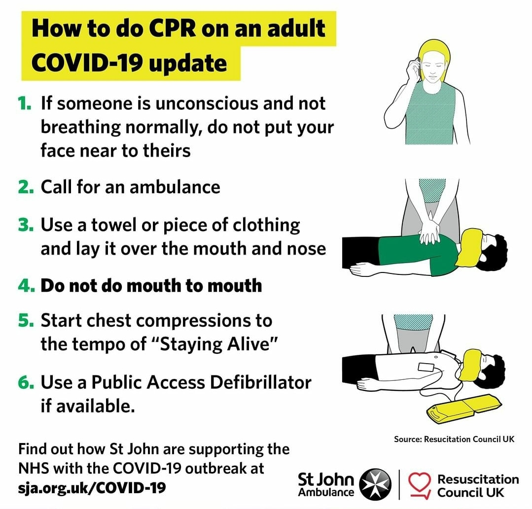 In our last post we discussed how to perform CPR during the Covid-19 outbreak. These illustrations from @stjohn_ambulance demonstrates it.   Would you feel safe enough to perform CPR using this new technique?  #cpr #covid #covid_19 #firstaidtraining #firstaidsaveslivespic.twitter.com/burXhoihRf