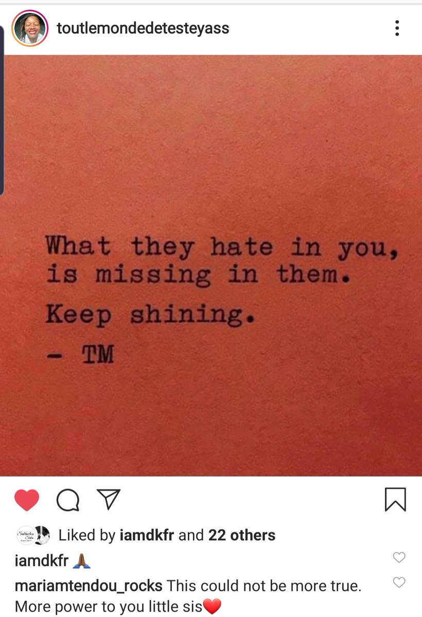 """I was about to write my #thoughtoftheday when I came accross this post from my dearest sis @yassiraherself. """"What they hate in you is what is missing in them. Keep shining"""" Absolutely! and Keep forward! #Ilovethis #SaturdayThoughts #inspirationalquote  #KeepYourDistancepic.twitter.com/QJ3MRpimIh"""