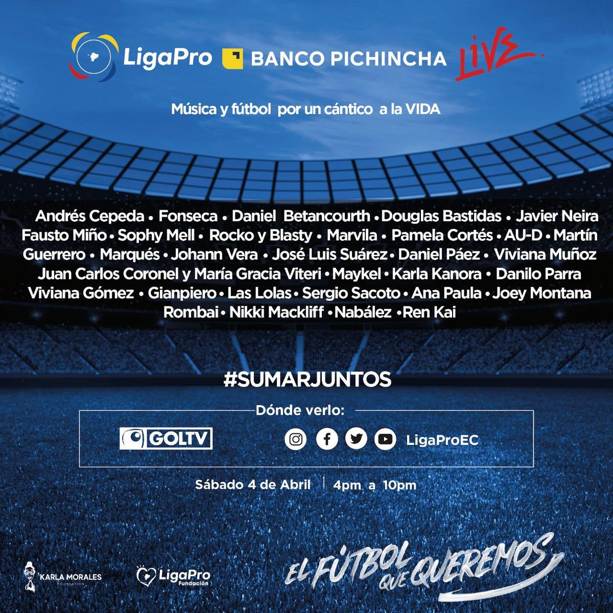 Todos unidos a partir de las 16:00pm en Concierto Solidario de LigaPro Banco Pichincha Live. Tú y las personas que invites se pueden conectar al  link https://t.co/LYt6wse8uR #SumarJuntos @BancoPichincha #QuedateEnCasa 🙏🙏💛 https://t.co/MkWjK7jq8N