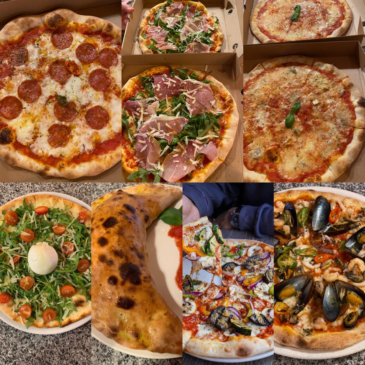 So great to see @BellaRomaItalia  back open. Take away only but just look how nice the pizzas are#supportsmallbusinesspic.twitter.com/j6DROip9xm