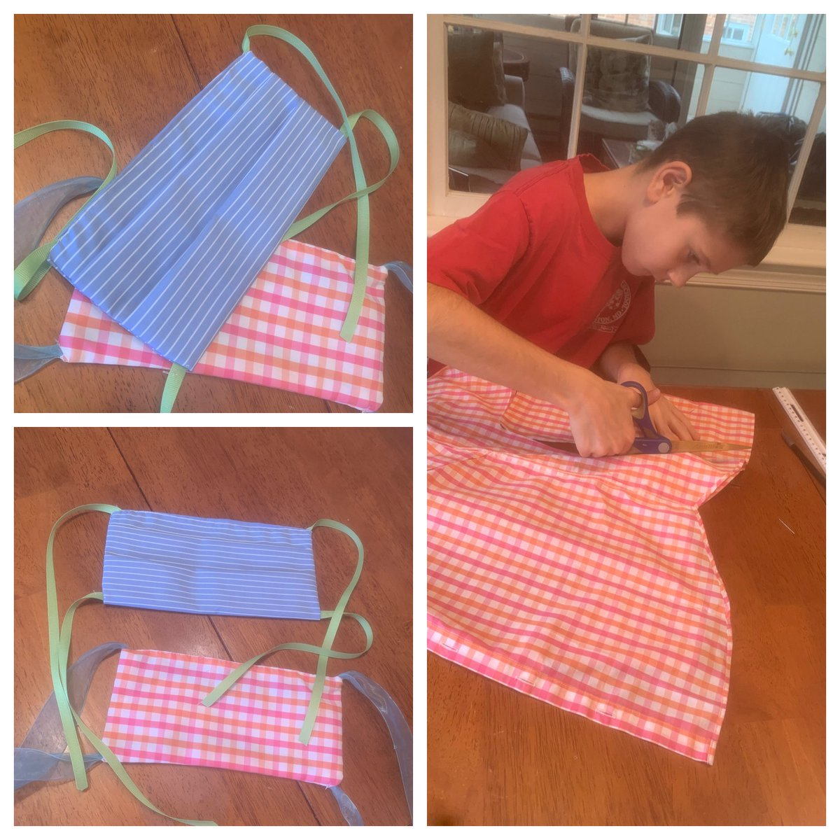 """Afternoon project with my son making 😷. It is """"sew"""" hard to do by hand 🤣but fun and passes the time@with a kid who is """"next level bored""""."""