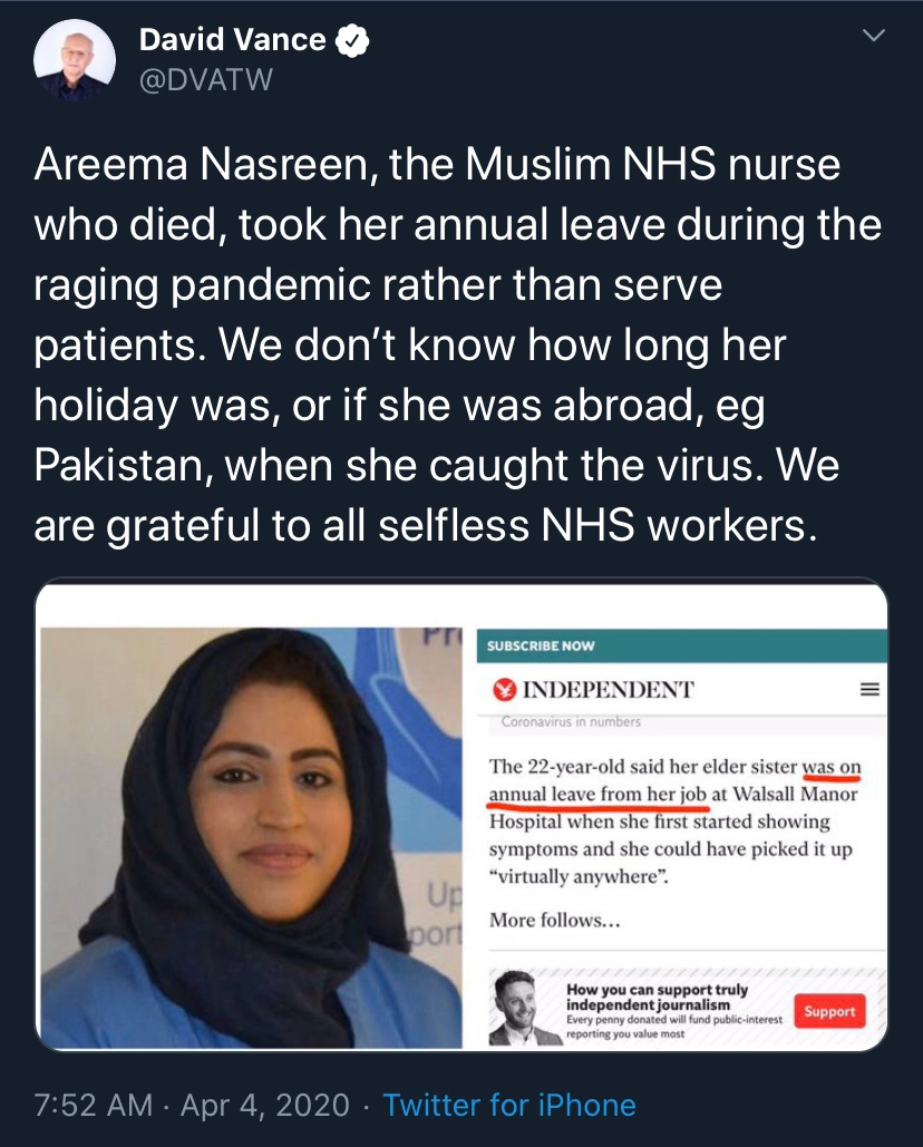 This is truly beyond the pale. Will Twitter actually do anything? This has been part of a series of disgusting Islamophobic attacks on our dead NHS Muslim doctors who gave everything to fight against Covid-19 and help patients.