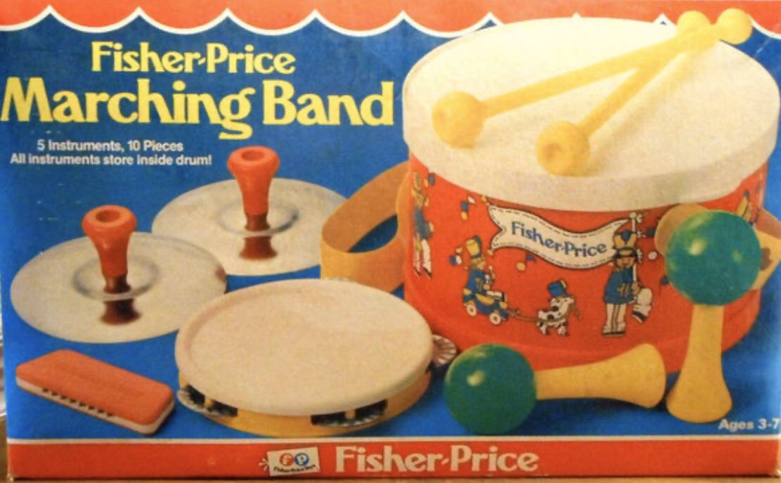 Show of Hands Kids.  Who Was A Fisher Price Band Member?  @fisherprice #FisherPrice #Music #School #MarchingBand #Band #Instruments #Instrument #Drums #Drum #Tambourine #Cymbals #Cymbal #Harmonicapic.twitter.com/DI6tAy8HHC