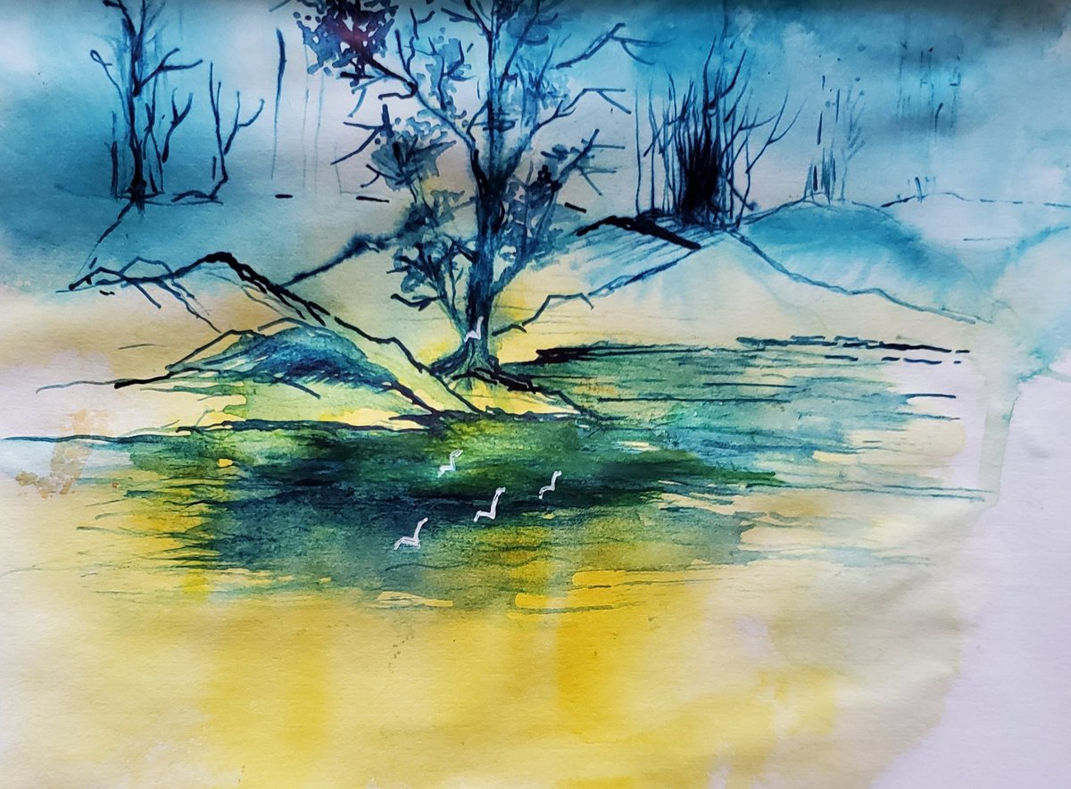 Today I used the incredible nib. Loved it!! #watercolor #watercolors #sketcbook #sketches #Blue #yellow #acrylic #landscapepic.twitter.com/6pEvjDAcKw