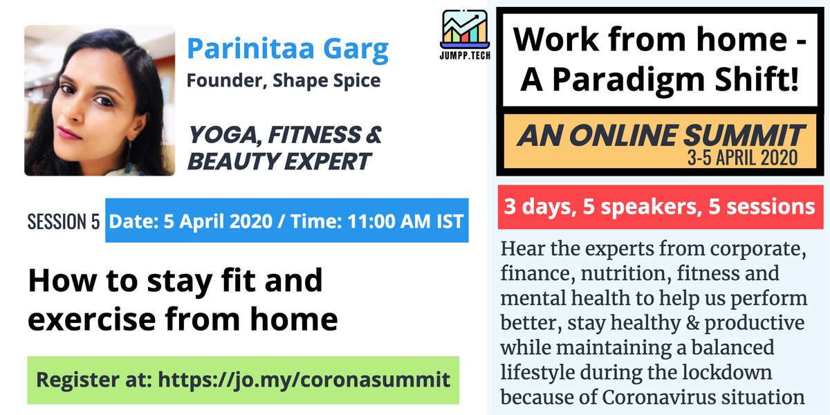 We conclude our Online Summit today at 11 AM IST with Parinitaa Garg who will guide us how to stay fit spiritually, mentally and physically. Sign-up at https://jo.my/coronasummit #balancedlife #fitnesstips #fitness #exercisemotivation  #stayfit #jumpptech #healthyhabits @Jumpptechpic.twitter.com/clnRtSxeKE