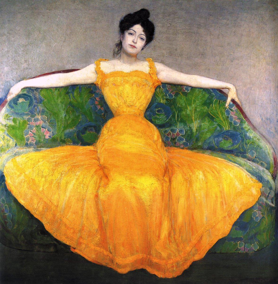 Woman in a Yellow Dress (1899) by Max Kurzweil (Czech, 1867-1916). #Victorian #VintageFashionpic.twitter.com/yXWf97zLxr
