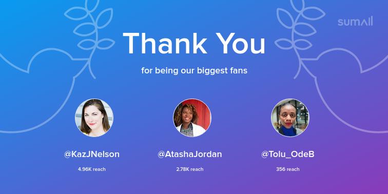 Our biggest fans this week: KazJNelson, AtashaJordan, Tolu_OdeB. Thank you! via sumall.com/thankyou?utm_s…