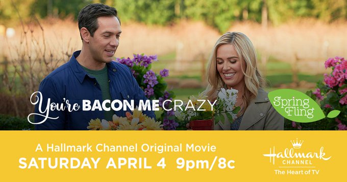 We're ON #Hallmarkies Tune in NOW on @hallmarkchannel For The All New Original #SpringFling Premiere of #YoureBaconMeCrazy Starring @TheNatalieHall And @RadyMichael Enjoy! pic.twitter.com/ZI9Yqgu7Tx