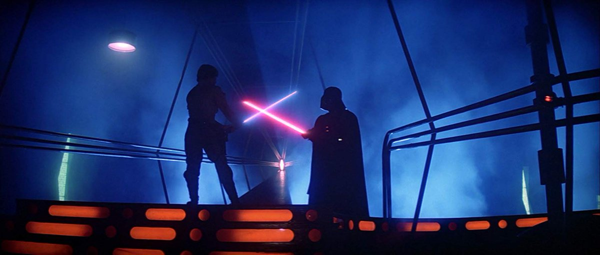 This sequence has one of the best color palettes in the entire franchise. The deep blacks, the undulating blues, the stark orange, this is the most beautiful moment in The Empire Strikes Back. #StarWars #movies pic.twitter.com/QUakANRUO2