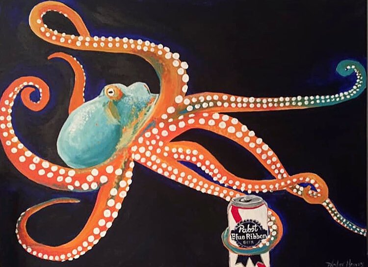 Octopus with Beer Acrylic on Canvas #paintings #creative #artpic.twitter.com/H2RXIWnNaZ