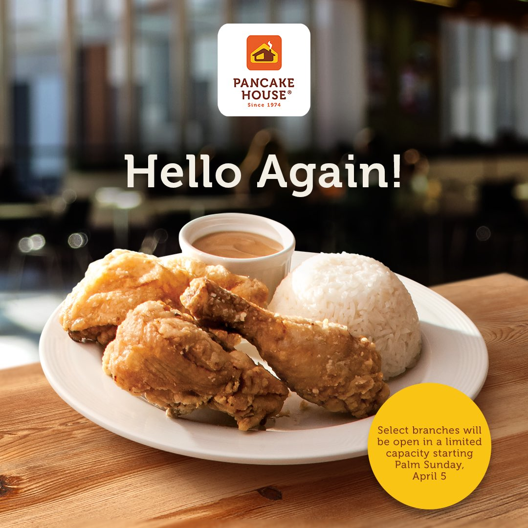 THIS can be one great reason to feel good! Have your classic favorites from Pancake House delivered to your doorstep, starting April 5, Sunday.  See the link of operating stores here: https://t.co/WpFqsPH7cy  P.S. We missed you, too! https://t.co/LzCVugnzj6