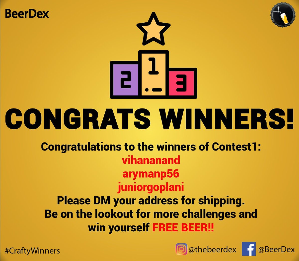 The results of the contest are out!  Congratulations to our top 3 winners! For the rest of you, there are still 6 cases of beer waiting to be shipped! Some more exciting contests will be coming up soon. Stay tuned for more updates for a chance to win some free beer! #craftbeer pic.twitter.com/fFtTFll96K