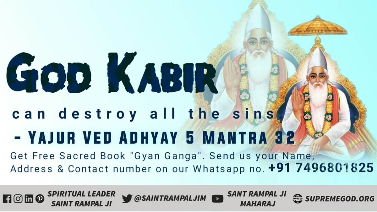 #Who_Is_EarthSavior God Kabir is the bestower of complete happiness. He is the enemy of sins  Proof yajurved adhyay 5 mantra 32 Watch sadhana channel 7:30pm.. #GodMorningSunday<br>http://pic.twitter.com/P1lKXQ1hHD