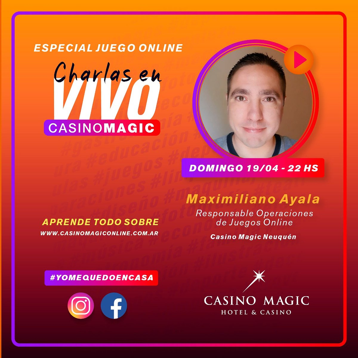 Charla #especial con Maximiliano Ayala! Todo sobre JUEGO ONLINE #YoMeQuedoEnCasa Te esperamos en #Instagram!  #CasinoMagic #Neuquen Todo lo que imaginabas y MÁS! https://t.co/G5nApyfict https://t.co/YkA9PcM1qY