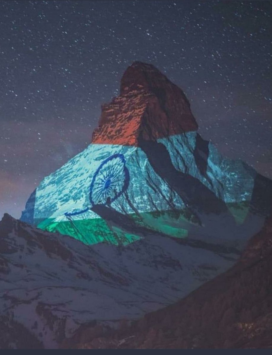 Switzerland's most famous mountain - the #ZermattMatterhorn lit up in the glorious Indian Tricolour. A message of solidarity and hope... A tribute to the indomitable human spirit ❤️🙏🏽🧿 Light Art by #GerryHofstetter and 📸 #GabrielPerren  #inlovewithswitzerland @MySwitzerlandI
