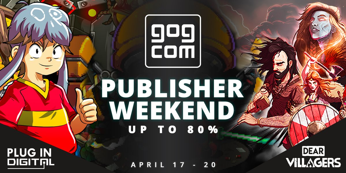 .@GOGcom publisher weekend is still going strong! Right now, AWAY, @NeuroVoider, Dead in Vinland by @deadingames & several @plugindigital titles are up to 80% off. It's your chance to get new games!  Find the sale here: https://t.co/TDVxzQXmih https://t.co/6SpoRvc2d3