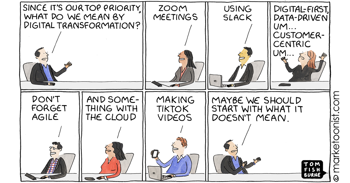 """""""Urgency without Clarity on Digital Transformation"""" - new cartoon and post https://t.co/7TSxbjQ6cf #marketing #digitaltransformation #cartoon https://t.co/nHLfYmqU3v"""
