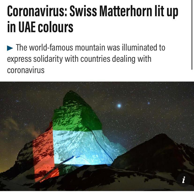 A message of Hope to UAE 🇦🇪,    Swiss mountain of Matterhorn lit in UAE flag #Woldlandmark #Switzerland #swissmatterhorn  #UAE #flag #friday #swissborder #covid-19 #stayunited  #gerryhofstetter #coronavirus @gerryhofstetter @swissmatterhorn