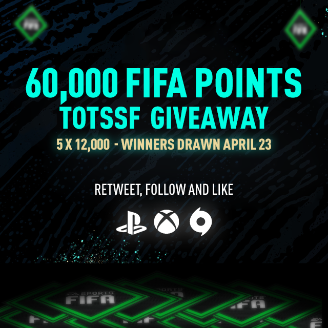 60,000 FIFA POINTS giveaway for the upcoming FUT #TOTSSF event, Retweet, Follow and Like to Enter! We will randomly pick the winners Thursday 23/04 around 5 pm UK time #FIFA20