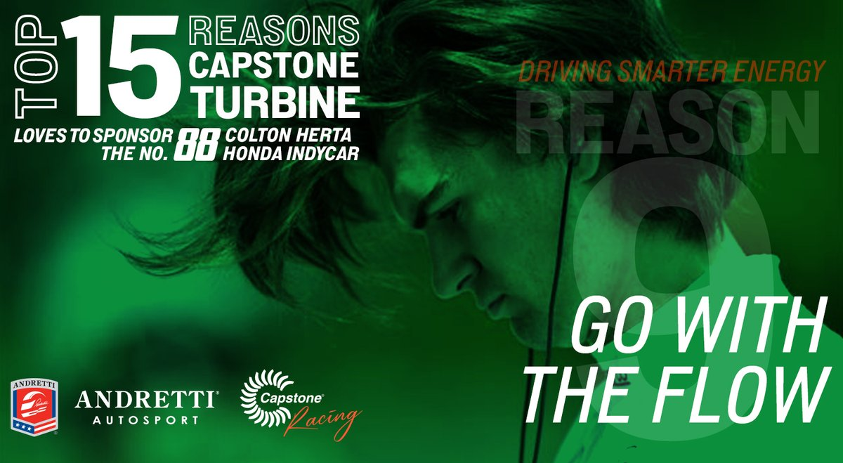 ✅ Reason #9 @CapstoneTurbine 💚s to support @ColtonHerta in the #88 #INDYCAR The power of the @ColtonHerta flow is both fashionable and overpowering – 'nuff said. #GoWithTheFlow // #DrivingSmarterEnergy