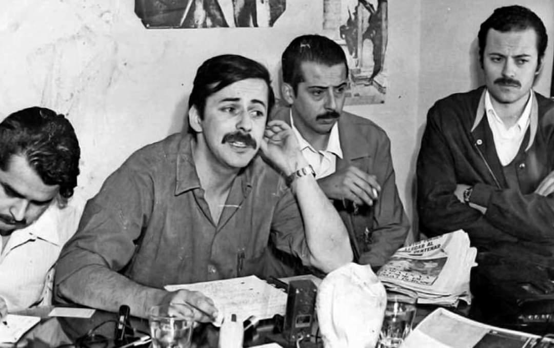 """Cristóbal on Twitter: """"Nelson Gutierrez, Miguel Enríquez (Sec. General), Edgardo Enríquez y Bautista Van Schouwen durante una conferencia de prensa de la dirección del Movimiento de Izquierda Revolucionaria (MIR) en Santiago, cerca"""