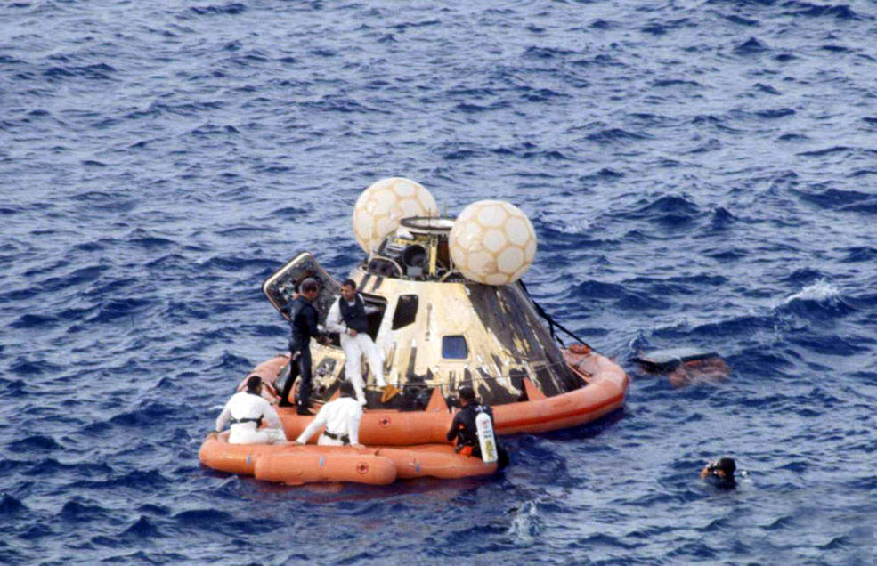 Apollo 13 capsule floats in Pacific Ocean