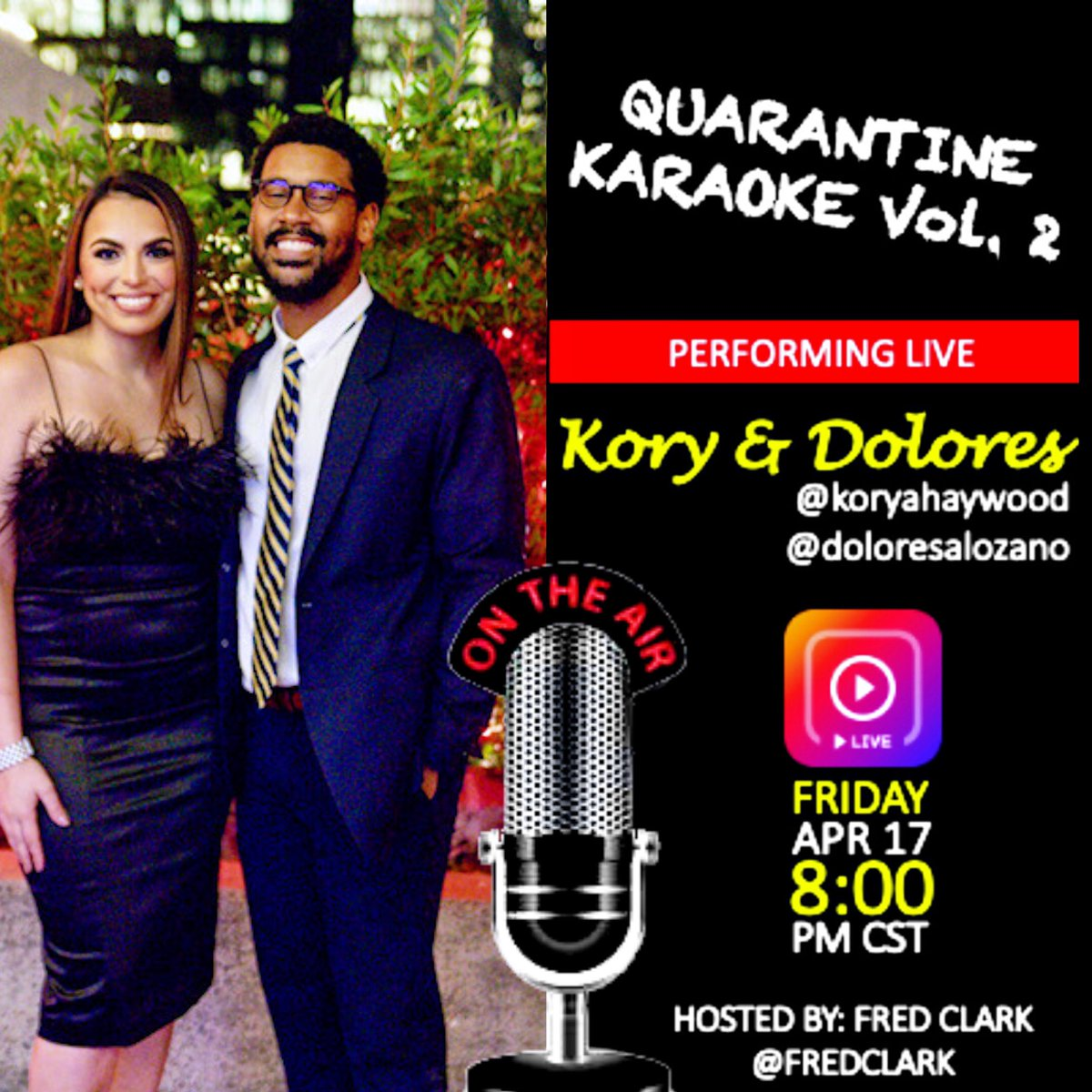 Tune into #QUARANTINEKARAOKE VOL. 2 hosted by @fredclark tonight on his IG LIVE at 8pm CT/9pm ET! Before we grab the mic... what's your go-to karaoke song? #QuarantineLife #FridayVibes #StayHome #StayHealthy #COVID19pic.twitter.com/HqPnAaNowg