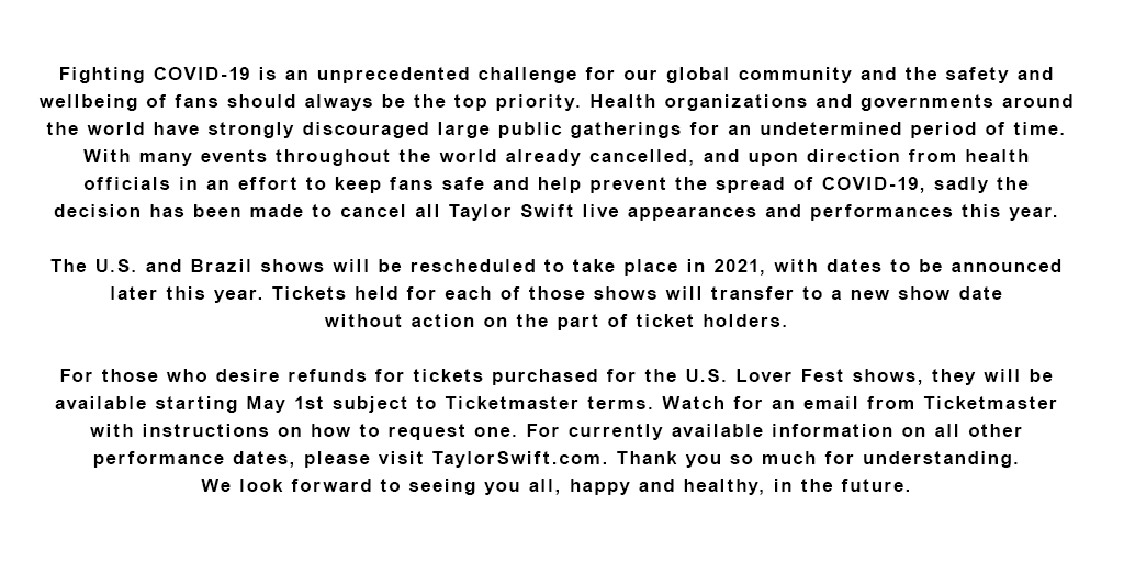 I'm so sad I won't be able to see you guys in concert this year, but I know this is the right decision. Please, please stay healthy and safe. I'll see you on stage as soon as I can but right now what's important is committing to this quarantine, for the sake of all of us. https://t.co/qeiMk2Tgon