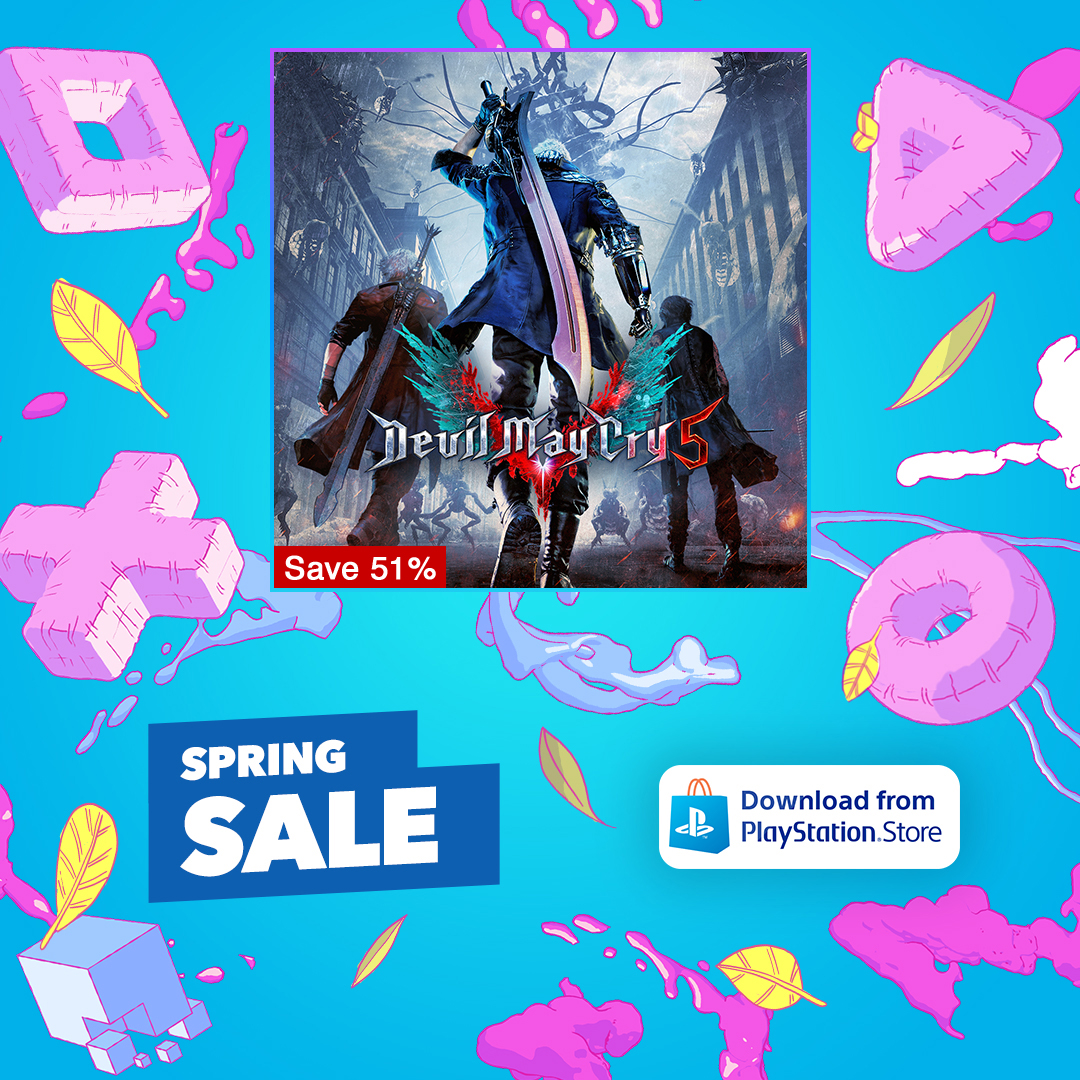 """""""Let's rock!"""" Save 51% on @DevilMayCry 5 with the PS4 Spring Sale!  🏍️ https://t.co/G1IqiK7GP7 https://t.co/LHHmfrt5k8"""