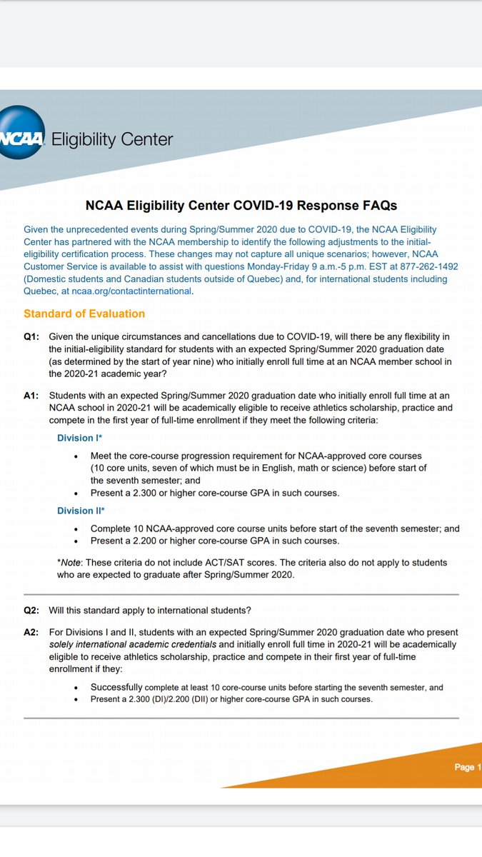 NCAA Eligibility Center Updates   Please retweet this information. Push it to all HS student-athletes. https://t.co/fgVKVjFFgH