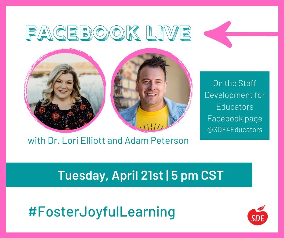 Join us for our second Facebook Live in the #FosterJoyfulLearning series!   On Tuesday, April 21st at 5 pm CST @teacherslearn2 will go live with @drlorielliott to talk about 'plugged' and 'unplugged' activities.   Get ready for some fun ideas and lots of laughs! <br>http://pic.twitter.com/c7LTb1J4P3