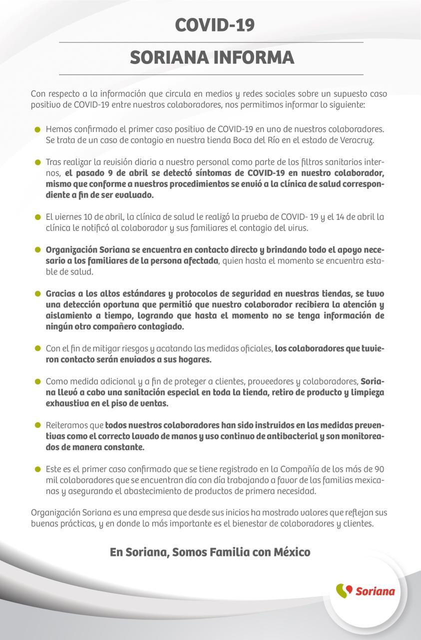 Soriana Boca del Río confirma caso de coronavirus y aplican medidas sanitarias