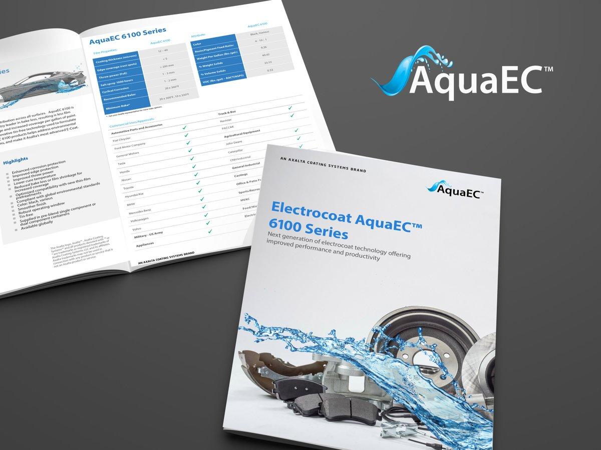 Take a look at our new brochure!  Electrocoat #AquaEC™ 6100 Series is designed to deliver enhanced corrosion resistance, performance, and productivity.  Learn more at: https://t.co/xvGsOdPxtc https://t.co/DHJ86jIjLz