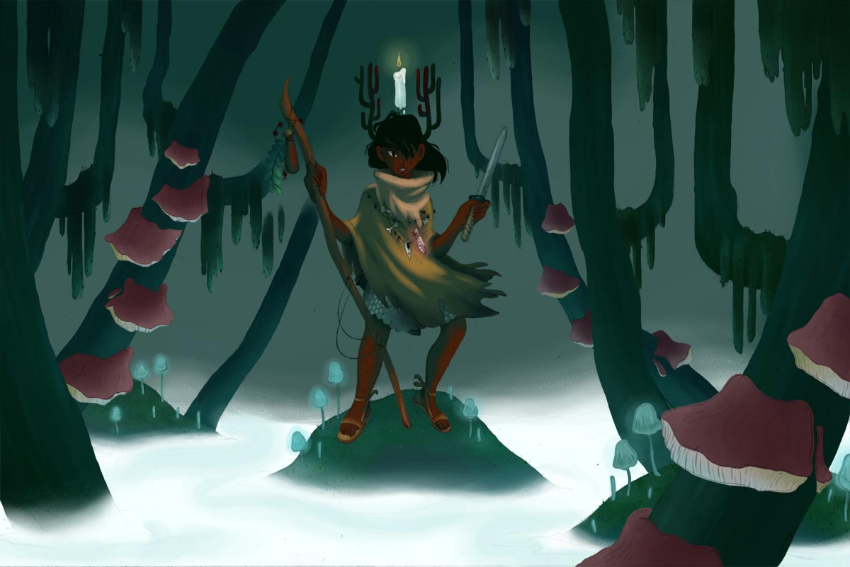 Here's that art test, btw- from 2013, and one of the only times I've tried digital painting! She had ANTLERS!!