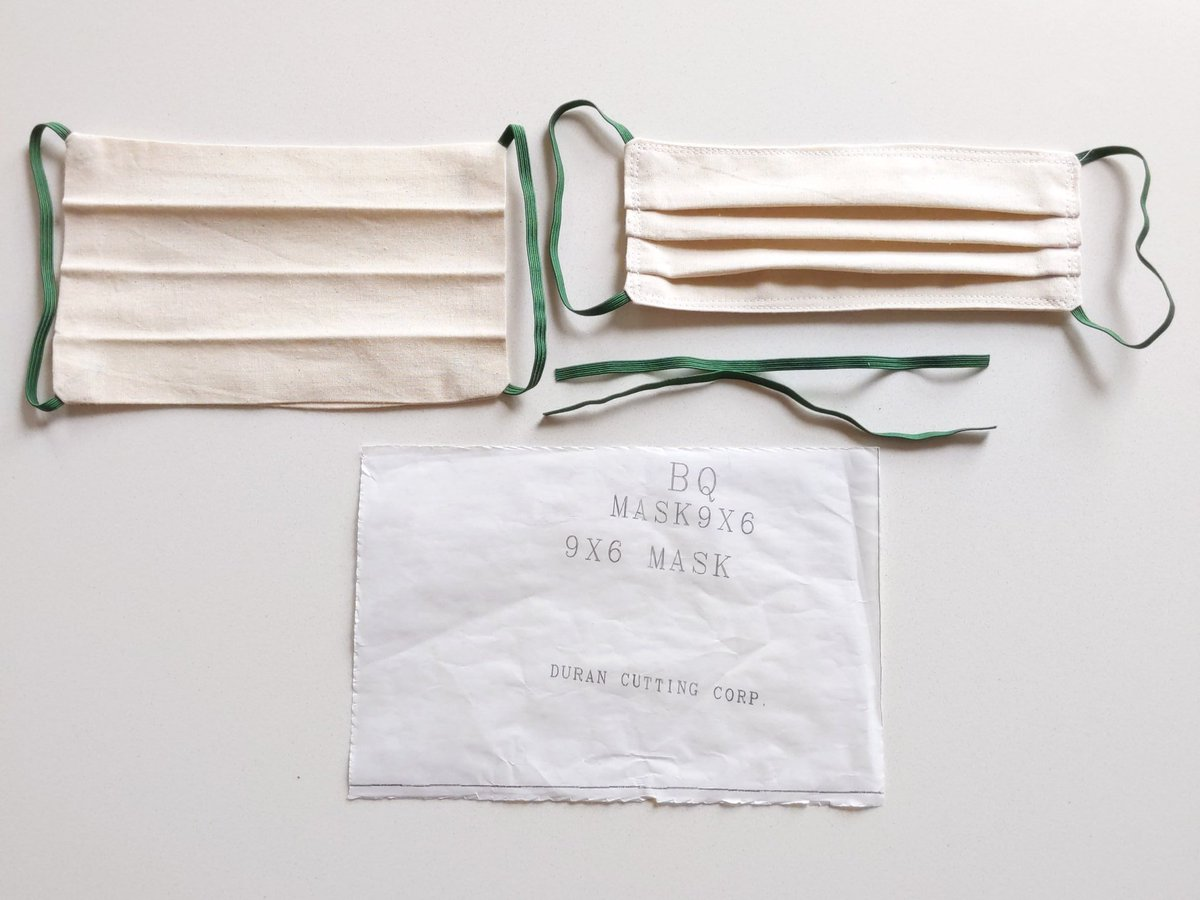 @MauriceMeilleur Just two 9 x 6 pieces of muslin, and two 8 pieces of elastic.