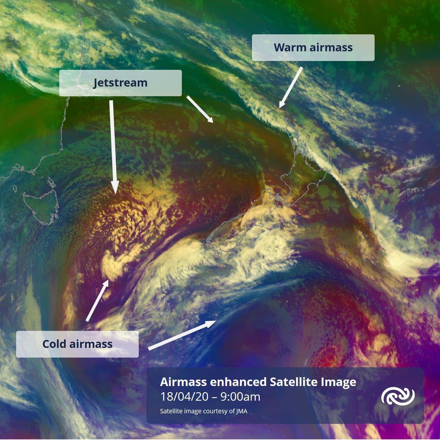 A great satellite image over the Tasman today shows a large area of cold air moving in from the west. This cool air in the upper troposphere means cumulonimbus clouds another period of isolated  for the west coast South Island this evening. For more: metservice.com ^AC https://t.co/kIcdKdQXLr