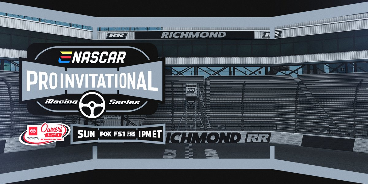Almost time for some more virtual short track racing! The eNASCAR iRacing #ProInvitationalSeries takes to @RichmondRaceway on FOX, FS1 and the FOX Sports App at noon.
