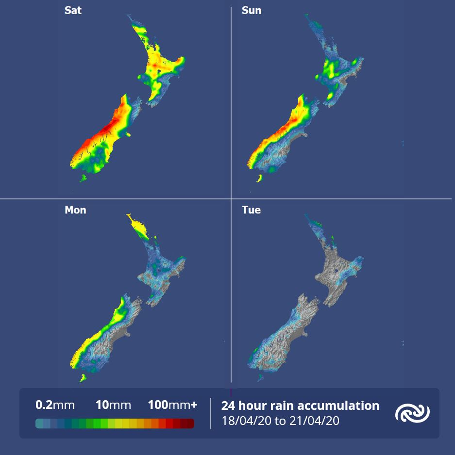 The rain accumulations show a drying trend for almost all regions early next week as a weak ridge of high pressure moves onto the country. Northland is the odd one out with a dose of rain possible on Monday as a front sinks south. For more details see metservice.com ^AC https://t.co/9tBXoMmc5Z
