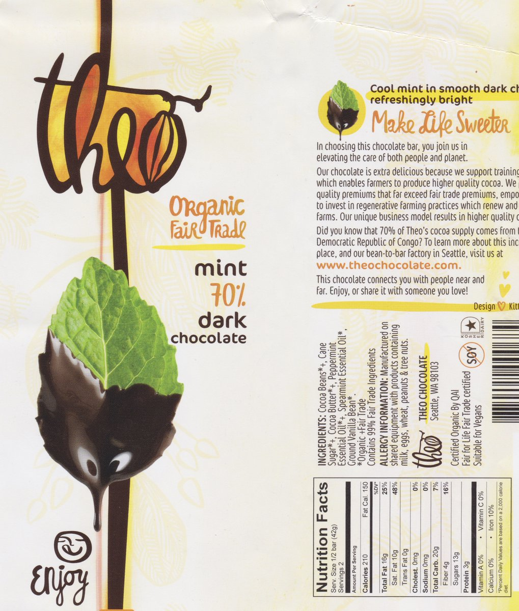 Theo dark chocolate with mint