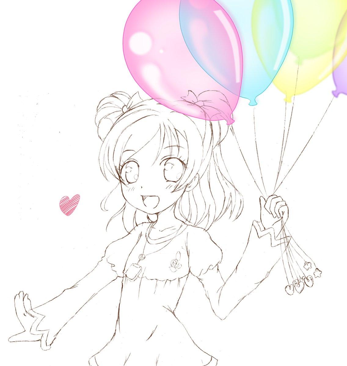 【お題箱より】 #odaibako_kazenofunet https://t.co/st4m923pPg プリキュア5ののぞみちゃんが色とりどりのヘリウム風船を持って喜んでる絵をお願いします!! https://t.co/N2caGGRZ1w