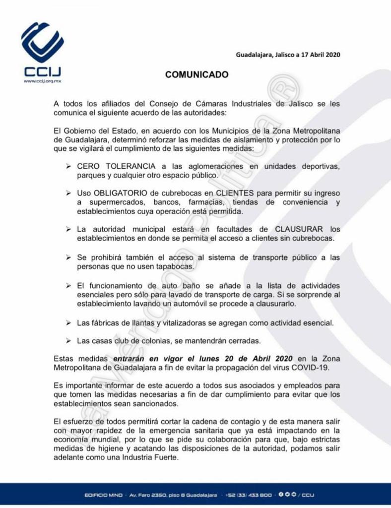 Cubrebocas en Jalisco será obligatorio para evitar la propagación del coronavirus