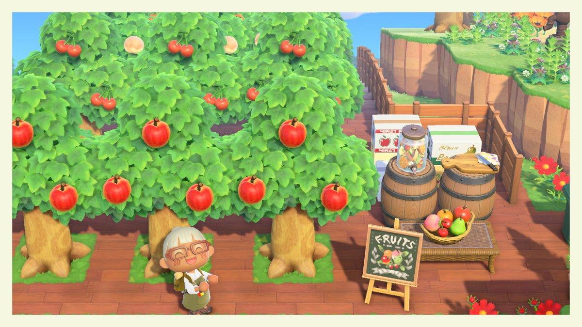 果樹園用のチョークボードのマイデザインです #どうぶつの森 #ACNH #マイデザイン