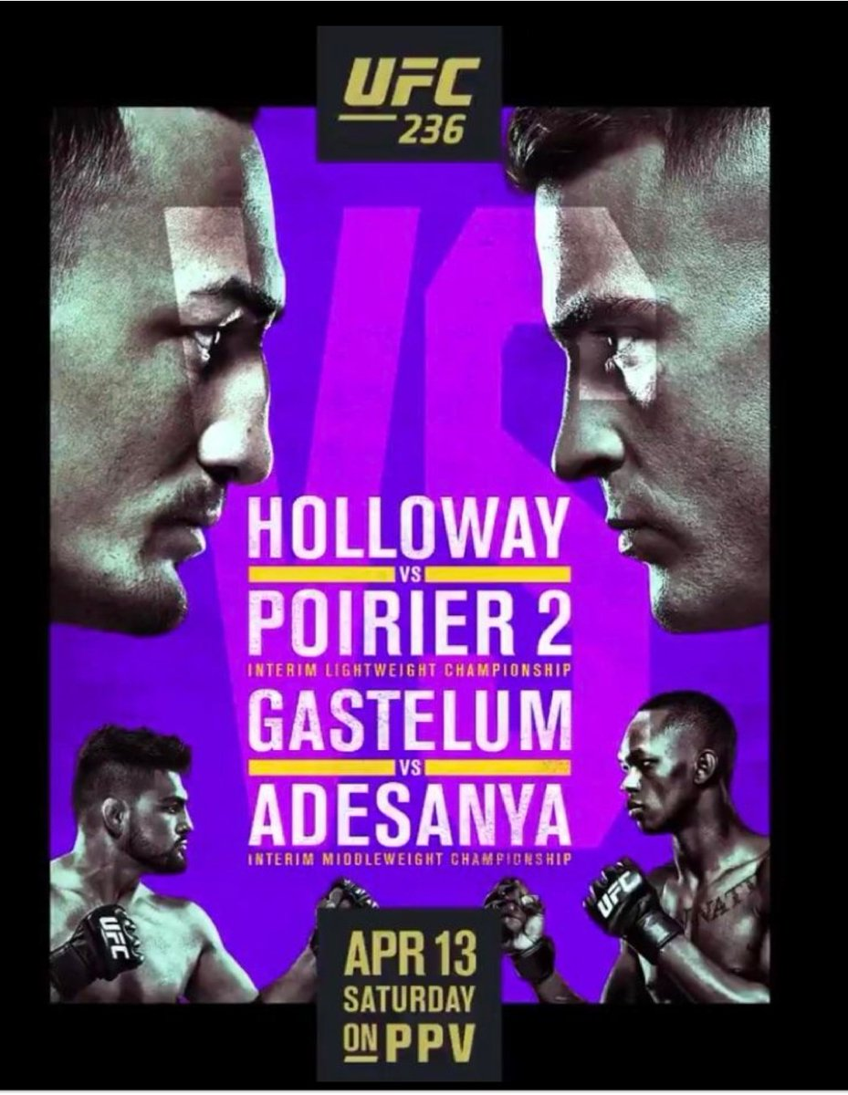 #UFC236 on Saturday at 9pm 🇺🇸 Holloway 🆚️ Poirier Gastelum 🆚️ Adesanya Anders 🆚️ Rountree   #UFC244 on Sunday at 9pm 🇺🇸 Masvidal 🆚️ Diaz Gastelum 🆚️ Till Wonderboy 🆚️ Luque  A couple of modern classics for you this weekend on BT Sport 3 HD 🙌 https://t.co/sBN4w0YYPN