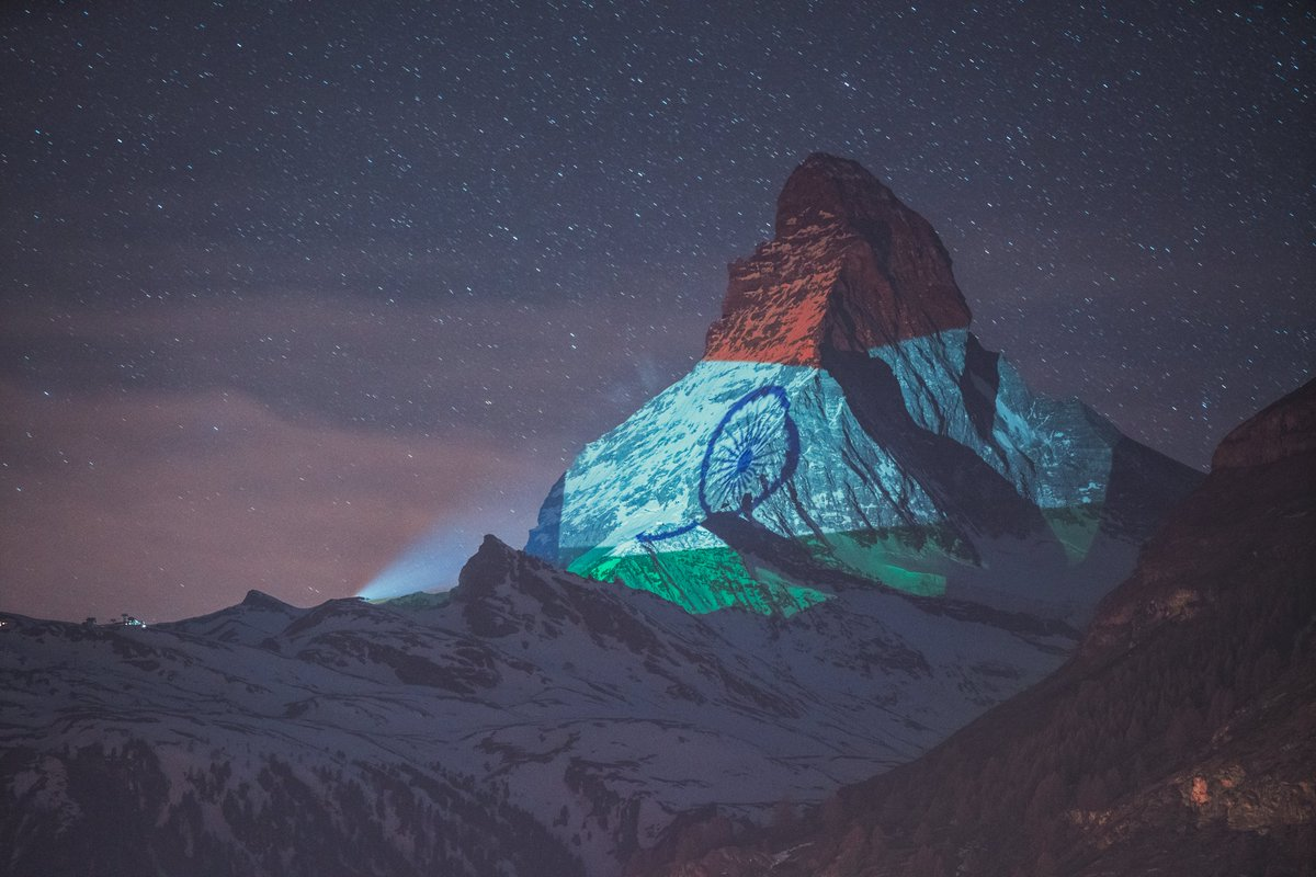 A sign of hope to India 🏔️🇮🇳 Together, we can endure and defy the virus. We have received this lovely shot from @zermatt_tourism. Thank you © Light Art by Gerry Hofstetter and Gabriel Perren for this beautiful illumiation and shot! 📸  #StayAtHome #DreamNowTravelLater