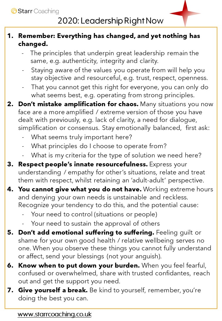We continue to offer the themes were using to coach leaders right now. Heres a second list of principles which focus more directly on where to lead from. As with the previous (well-being) themes, use with our blessings🙂 #coaching #overwhelm #leadingthroughcrisis