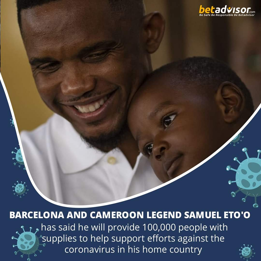 Barcelona and Cameroon legend Samuel Eto'o has said he will provide 100,000 people with supplies to help support efforts against the coronavirus in his home country #betadvisor #football #tipster #tipsters #soccer #sport #tips #tip #sports #bet #barcelona #laliga #spain #Cameroon https://t.co/ZP1HsNk1Dj