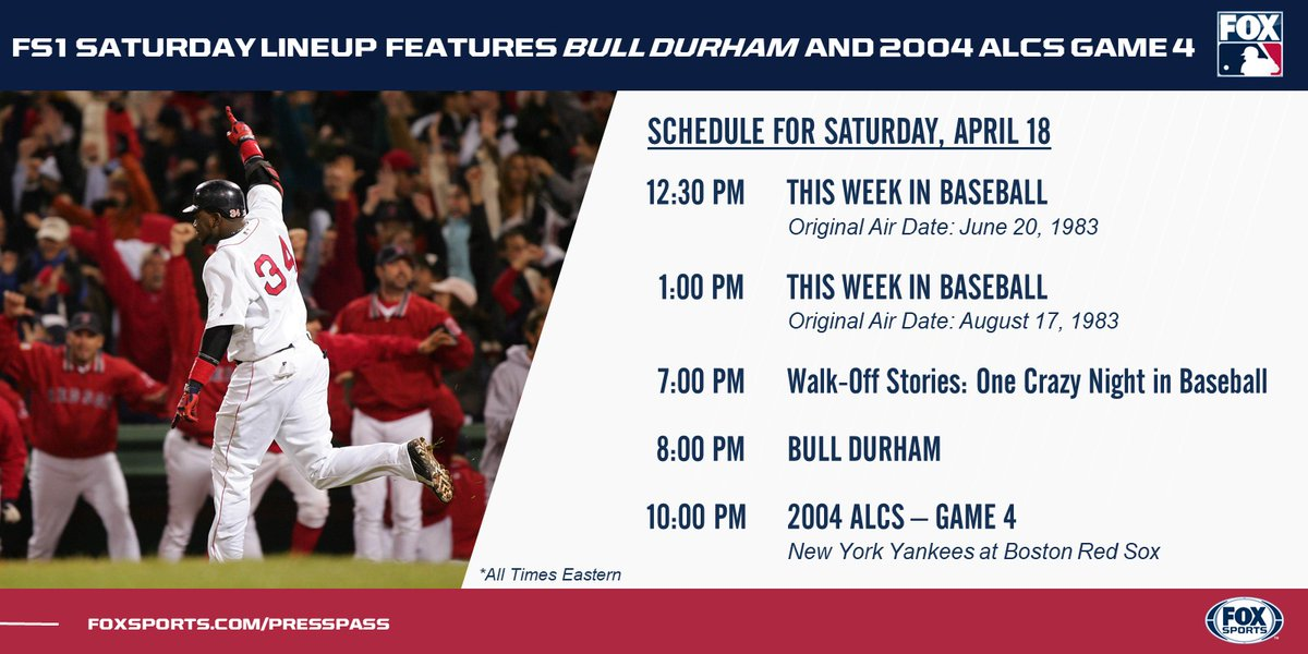 A special airing of 'Bull Durham' and Game 4 of the 2004 ALCS highlight an exciting day of MLB coverage on @FS1.